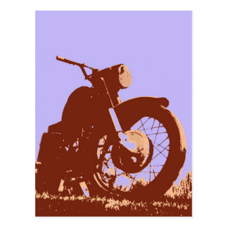 Vintage motorcycle pop art style postcards