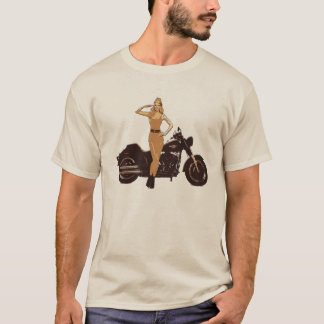 Vintage motorcycle poster pin-up girl T-Shirt