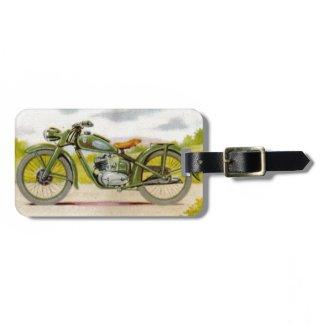 Vintage Motorcycle Print Travel Bag Tags