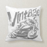 Vintage Motorcycle Racer Pillow