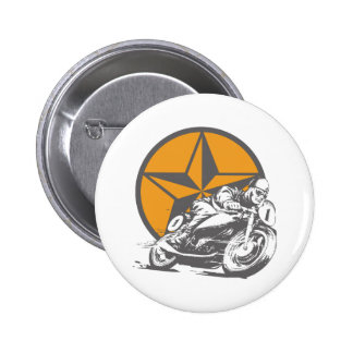 Vintage Motorcycle Racing Circle Star Button