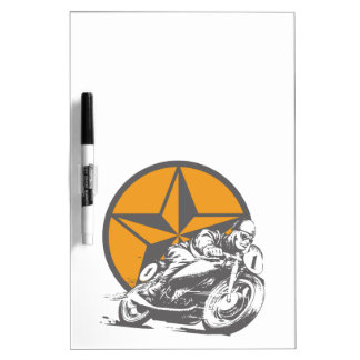 Vintage Motorcycle Racing Circle Star Dry-Erase Board