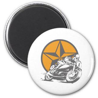 Vintage Motorcycle Racing Circle Star Magnet