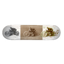 Vintage Motorcycle Racing on Wooden Board