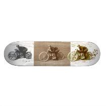 Vintage Motorcycle Racing on Wooden Board