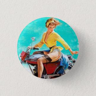 Vintage Motorcycle Rider Gil Elvgren Pinup Girl Button