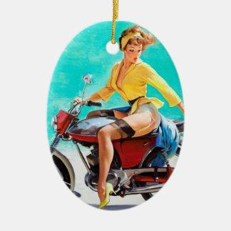 Vintage Motorcycle Rider Gil Elvgren Pinup Girl Ceramic Ornament