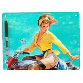 Vintage Motorcycle Rider Gil Elvgren Pinup Girl Dry Erase Board With Keychain Holder