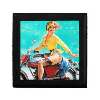 Vintage Motorcycle Rider Gil Elvgren Pinup Girl Trinket Box