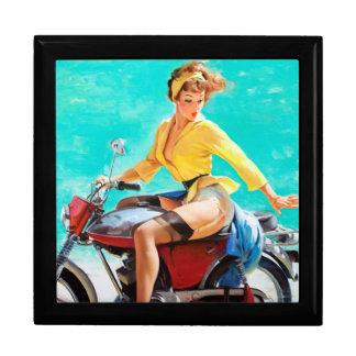 Vintage Motorcycle Rider Gil Elvgren Pinup Girl Keepsake Box
