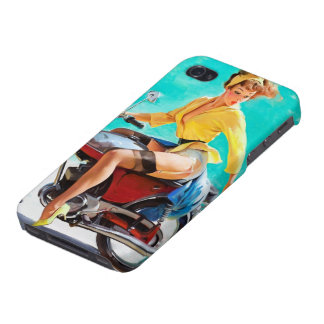 Vintage Motorcycle Rider Gil Elvgren Pinup Girl iPhone 4 Covers