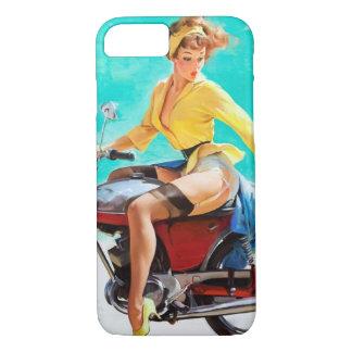Vintage Motorcycle Rider Gil Elvgren Pinup Girl iPhone 8/7 Case