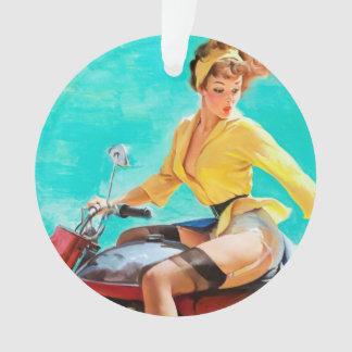 Vintage Motorcycle Rider Gil Elvgren Pinup Girl Ornament