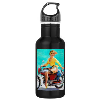 Vintage Motorcycle Rider Gil Elvgren Pinup Girl 18oz Water Bottle