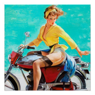 Vintage Motorcycle Rider Gil Elvgren Pinup Girl Poster