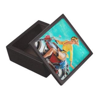 Vintage Motorcycle Rider Gil Elvgren Pinup Girl Premium Gift Box