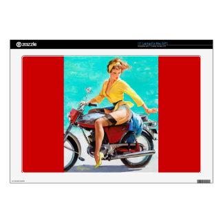 Vintage Motorcycle Rider Gil Elvgren Pinup Girl Skins For Laptops