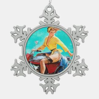 Vintage Motorcycle Rider Gil Elvgren Pinup Girl Snowflake Pewter Christmas Ornament