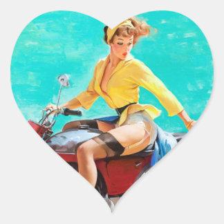 Vintage Motorcycle Rider Gil Elvgren Pinup Girl Sticker