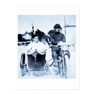 Vintage Motorcycle & Side car Postcard