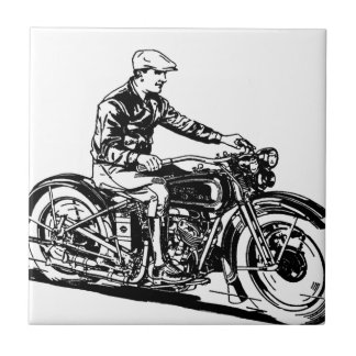 Vintage Motorcycle Small Square Tile
