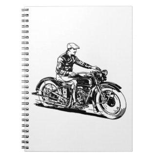 Vintage Motorcycle Spiral Note Book