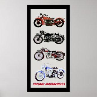 ViNTAGE MOTORCYCLES, Black Grey Poster