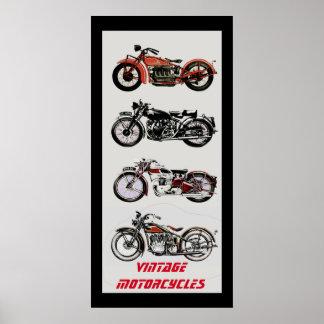 ViNTAGE MOTORCYCLES Black Red Grey Poster