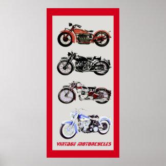 ViNTAGE MOTORCYCLES, Black Red Grey Poster