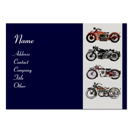 VINTAGE MOTORCYCLES blue red white grey Large Business Cards (Pack Of 100)
