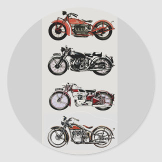 VINTAGE MOTORCYCLES CLASSIC ROUND STICKER