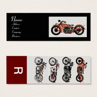 VINTAGE MOTORCYCLES MONOGRAM red white grey black Mini Business Card