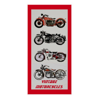 ViNTAGE MOTORCYCLES Red Grey Poster