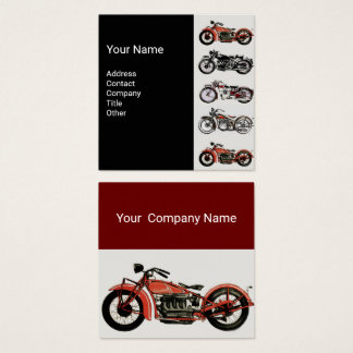 VINTAGE MOTORCYCLES Red White Grey Black Square Business Card