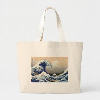 Vintage Mount Fuji and Wave Large Tote Bag