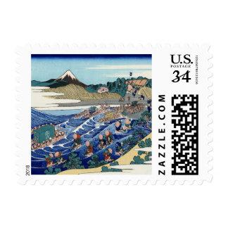 Vintage Mount Fuji Painting Postage Stamp