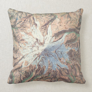 Vintage Mount Rainier Topographical Map Washington Throw Pillows