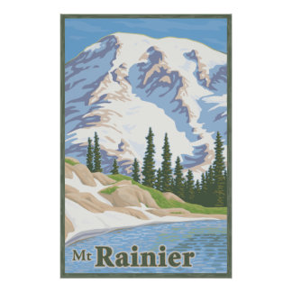 Vintage Mount Rainier Travel Poster