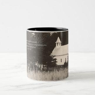 Vintage Mountain Church Two-Tone Coffee Mug