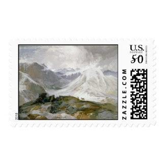 Vintage Mountain Illustration Stamp