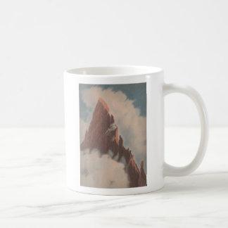 Vintage mountain view landscape clouds snow unique coffee mug