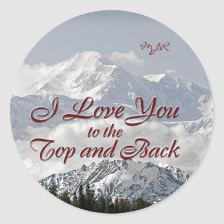 Vintage Mountains: I Love You to the Top and Back Classic Round Sticker
