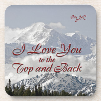 Vintage Mountains: I Love You to the Top and Back Drink Coaster