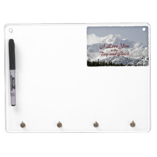 Vintage Mountains: I Love You to the Top and Back Dry Erase Board With Keychain Holder