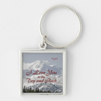 Vintage Mountains: I Love You to the Top and Back Keychain