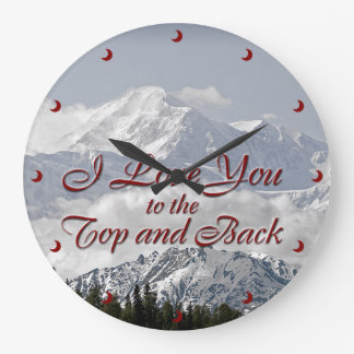 Vintage Mountains: I Love You to the Top and Back Large Clock