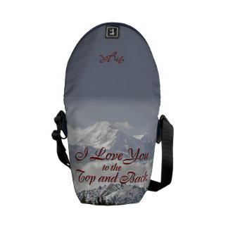 Vintage Mountains: I Love You to the Top and Back Messenger Bag