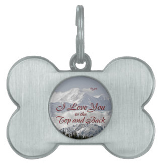 Vintage Mountains: I Love You to the Top and Back Pet ID Tag