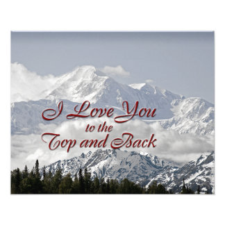 Vintage Mountains: I Love You to the Top and Back Photo Print