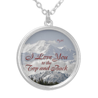 Vintage Mountains: I Love You to the Top and Back Silver Plated Necklace